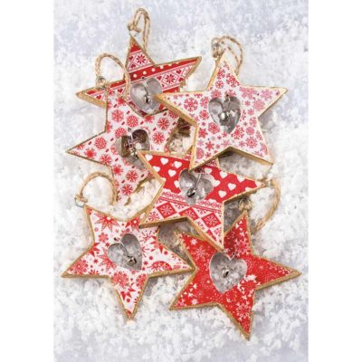 Hanging Wooden Star Decoration with Bell