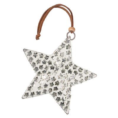 White Finish Glass Star with Silver Stars