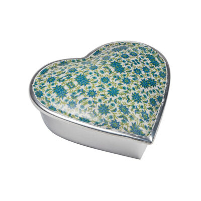 Large Floral Print Aluminium Heart Box