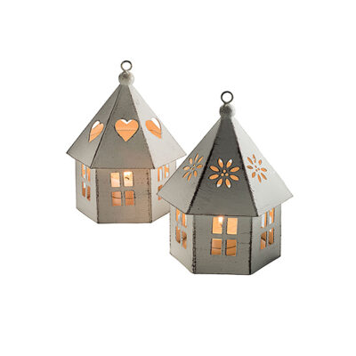 Cream metal hanging house tealight holder