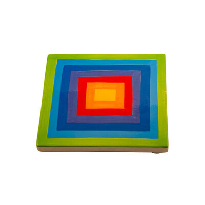 Hand Painted Rainbow Stripe Ceramic Coaster