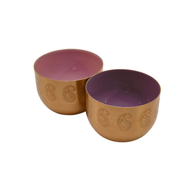 Paisley Etched Gold Finish Bowl