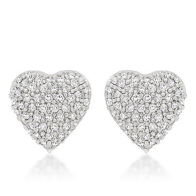 Cubic Zirconia & Sterling Silver Heart Earrings
