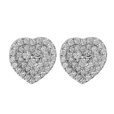 Cubic Zirconia & Sterling Silver Heart Earrings