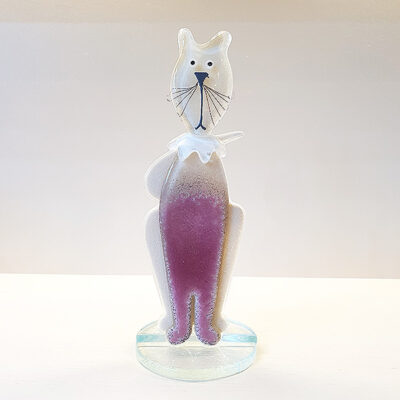 Handmade Fused Glass Kitten Pink