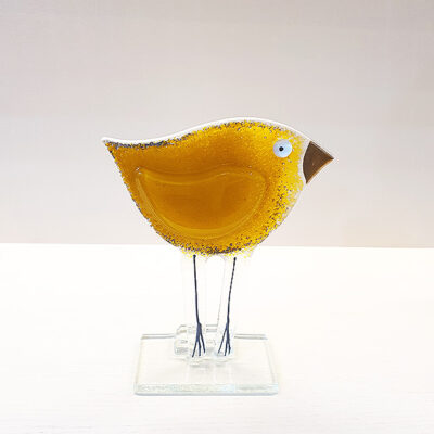 Handmade Yellow Fused Glass Bird