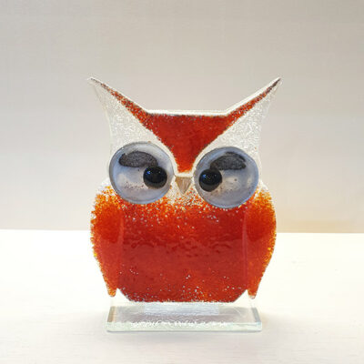 Handmade Red Fused Glass Owl