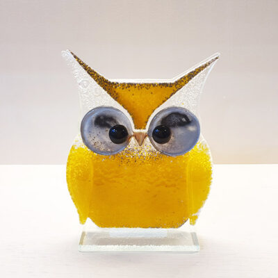 Handmade Yellow Fused Glass Owl