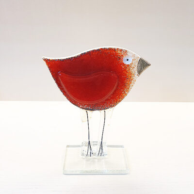 Handmade Red Fused Glass Bird