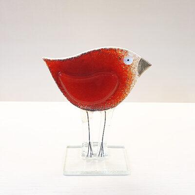 Handmade Red Fused Glass Bird