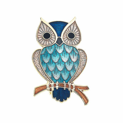 Blue enamel owl brooch