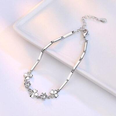 Cubic Zirconia & Sterling Silver Flowers Bracelet