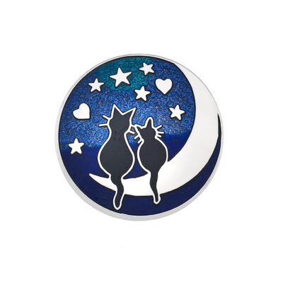 Black Cats on the Moon Brooch