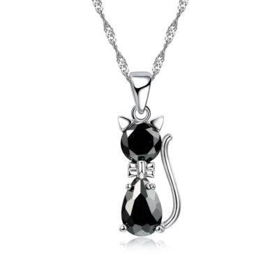 Sterling Silver & Cubic Zirconia Black Cat Necklace