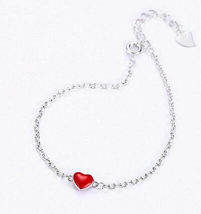 Silver Red-Heart Bracelet