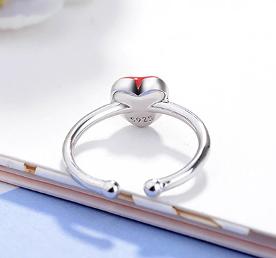 Silver Red-Heart Ring