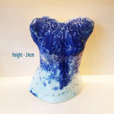 Handmade Blue Ceramic Torso