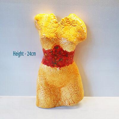 Handmade Yellow Ceramic Torso