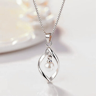 Silver Twist and Pearl Necklace