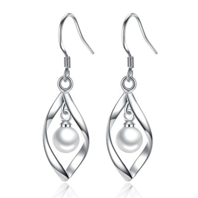 Silver Twist and Pearl Earrings