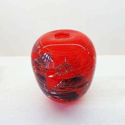 Red & Silver Glass Vase